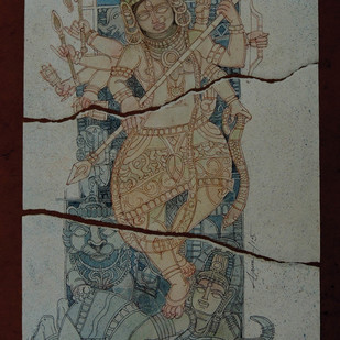 Durga by Arun Kumar Samadder, Illustration Painting, Mixed Media on Paper, Gray color