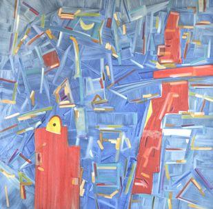 Vyakt Avyakt 1 by Amit Kalla, Geometrical , Oil on Canvas, Cyan color