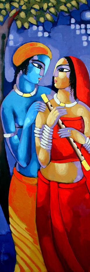 Romantic Couple by Sekhar Roy, Decorative Painting, Acrylic on Canvas, Blue color