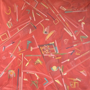 Vyakt Avyakt 2 by Amit Kalla, Geometrical Digital Art, Oil on Canvas, Pink color