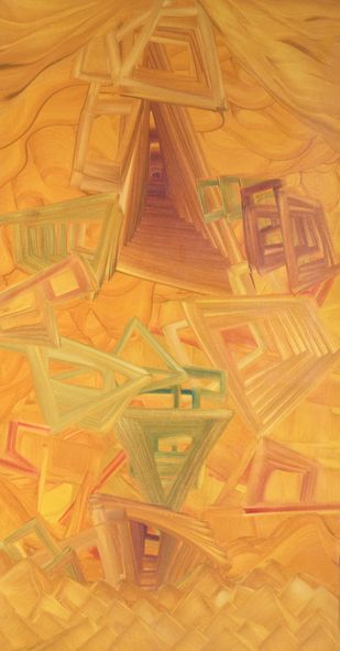 Vyakt Avyakt 3 by Amit Kalla, Abstract , Oil on Canvas, Brown color