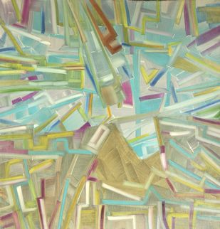 Reflection On The Bay by Amit Kalla, Abstract , Oil on Canvas, Beige color