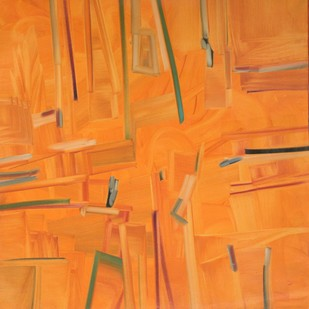 Salient Lullaby by Amit Kalla, Abstract , Oil on Canvas, Orange color