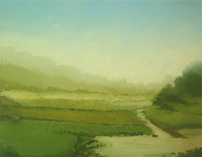 River Field by Fareed Ahmed, Impressionism , Oil on Canvas, Green color