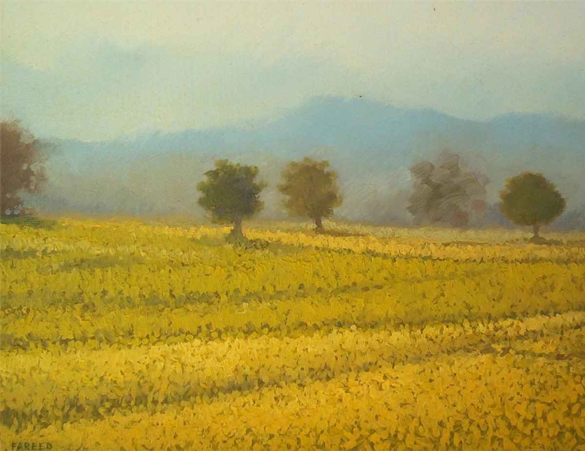 Yellow Fields by Fareed Ahmed, Impressionism , Oil on Canvas, Green color