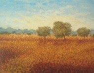 Three Trees by Fareed Ahmed, Impressionism , Oil on Canvas, Brown color
