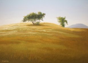 Hill Tree by Fareed Ahmed, Impressionism , Oil on Canvas, Brown color
