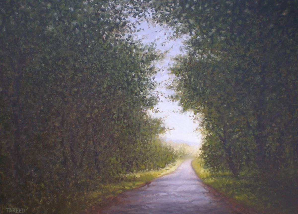 Road To Success by Fareed Ahmed, Impressionism , Oil on Canvas, Gray color