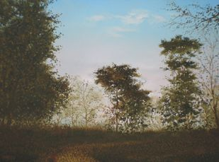 Trees At Evening by Fareed Ahmed, Impressionism , Oil on Canvas, Brown color