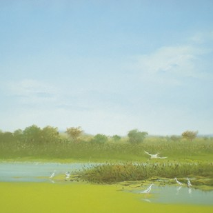 Bird Sanctuary by Fareed Ahmed, Impressionism , Oil on Canvas, Cyan color