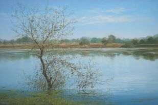 Cool Day At Pond by Fareed Ahmed, Impressionism , Oil on Canvas, Cyan color