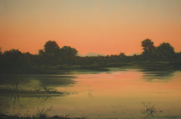 Evening by Fareed Ahmed, Impressionism , Oil on Canvas, Brown color