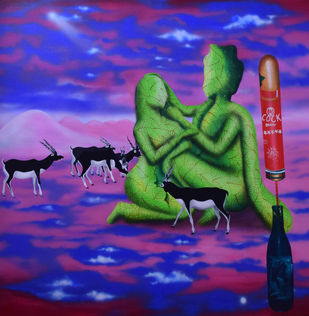 Hunger & Illusion by Debasish Mishra, Conceptual Painting, Acrylic on Canvas, Blue color