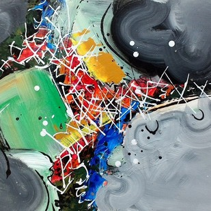 Untitled 4 by Shirish Deshpande, Abstract Painting, Acrylic on Board, Green color