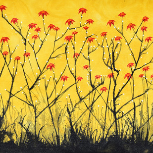 Red Poppies by Sumit Mehndiratta, Decorative Painting, Acrylic on Canvas, Orange color
