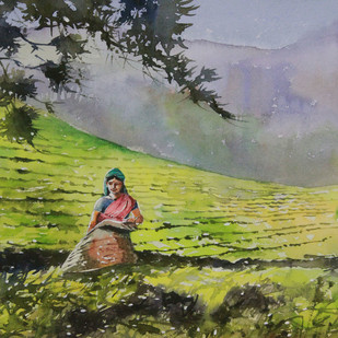 Village Beauty 5 by Mopasang Valath, Impressionism Painting, Watercolor on Paper, Green color