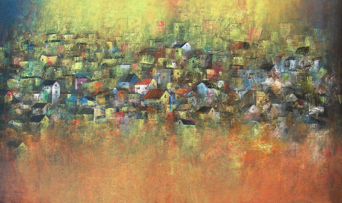 Iridescent Homes Digital Print by M Singh,Impressionism