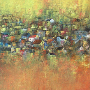 Iridescent Homes by M Singh, Impressionism Painting, Acrylic on Canvas, Brown color