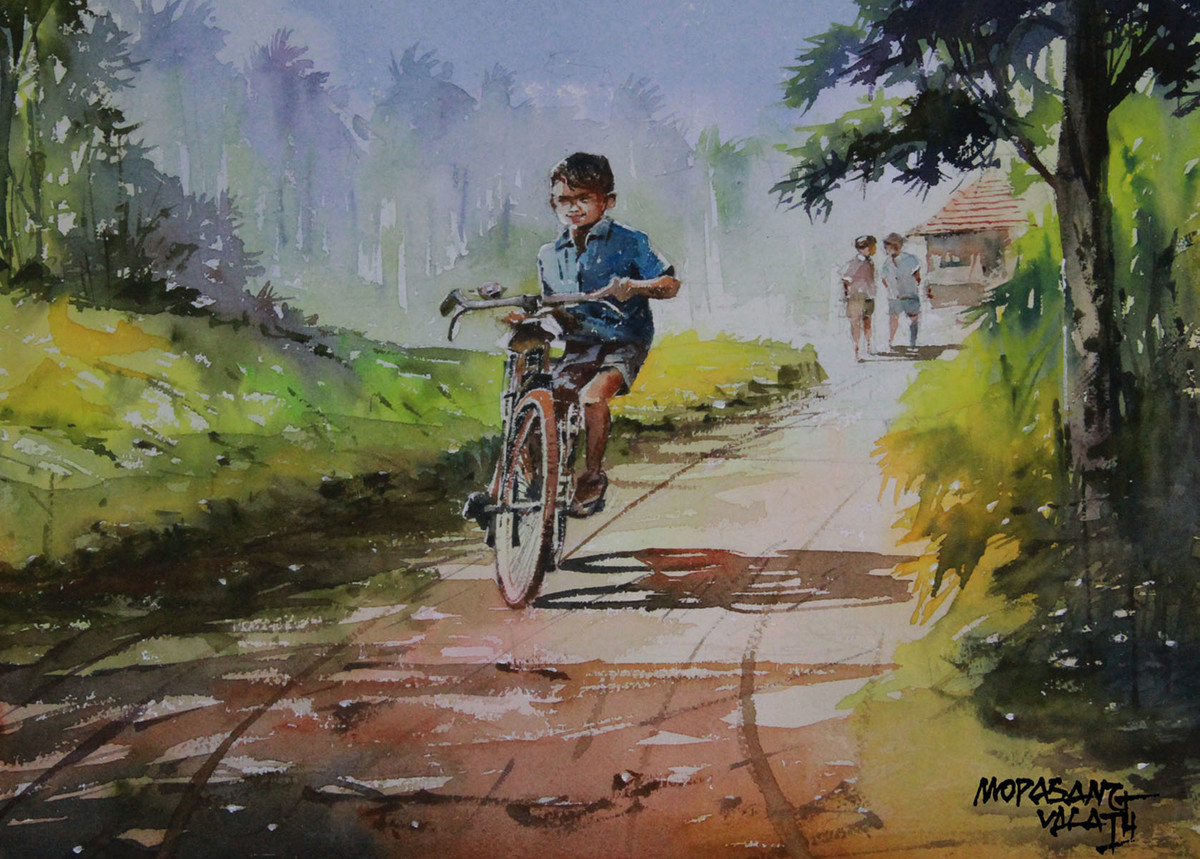 Trial Run by Mopasang Valath, Impressionism Painting, Watercolor on Paper, Brown color