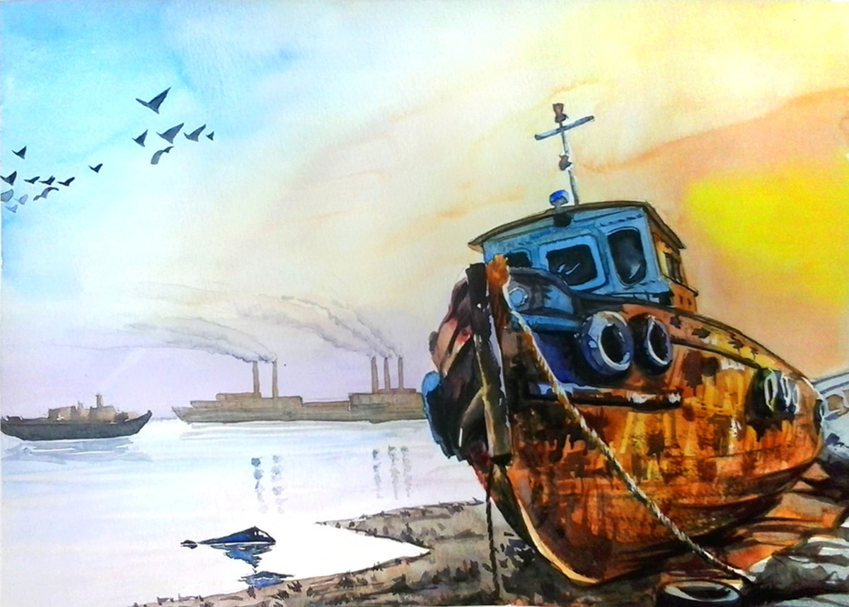 Abandoned Boat by Senthil, Impressionism Painting, Watercolor on Paper, Cyan color