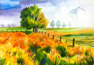 Green Field by Senthil, Impressionism Painting, Watercolor on Paper, Green color