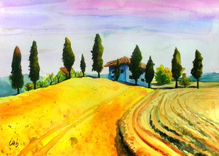 House On The Field by Senthil, Impressionism Painting, Watercolor on Paper, Pink color