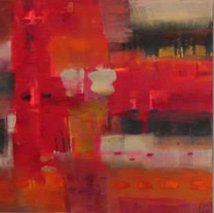 Crimson View by Gita Hudson, Abstract Digital Art, Oil on Canvas, Red color