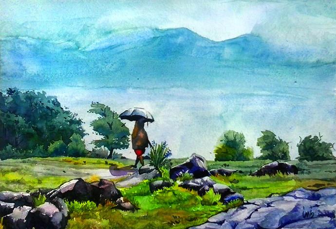 Rainy Day by Senthil, Impressionism Painting, Watercolor on Paper, Cyan color