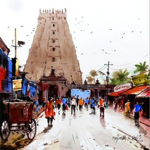 Rameshwaram Street by Manjunath N Wali , Impressionism Painting, Watercolor on Paper, Brown color