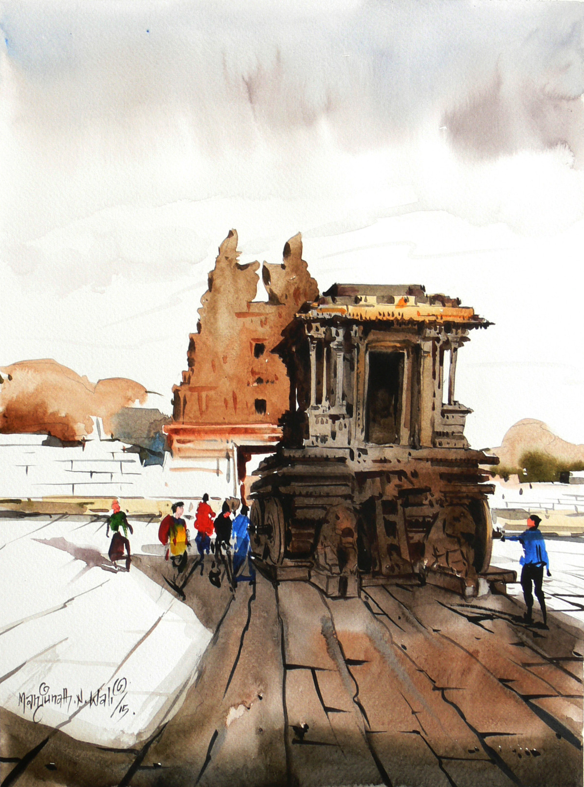 Chariot by Manjunath N Wali , Impressionism Painting, Watercolor on Paper, Brown color