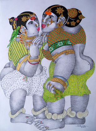 Women With Parrot 11 by Narahari Bhawandla, Decorative Painting, Acrylic & Ink on Paper, Pink color