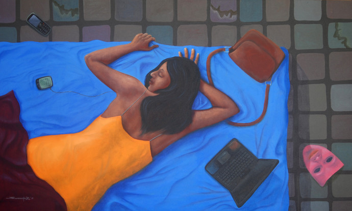 Living by Swaroop Biswas, Decorative Painting, Oil & Acrylic on Canvas, Blue color