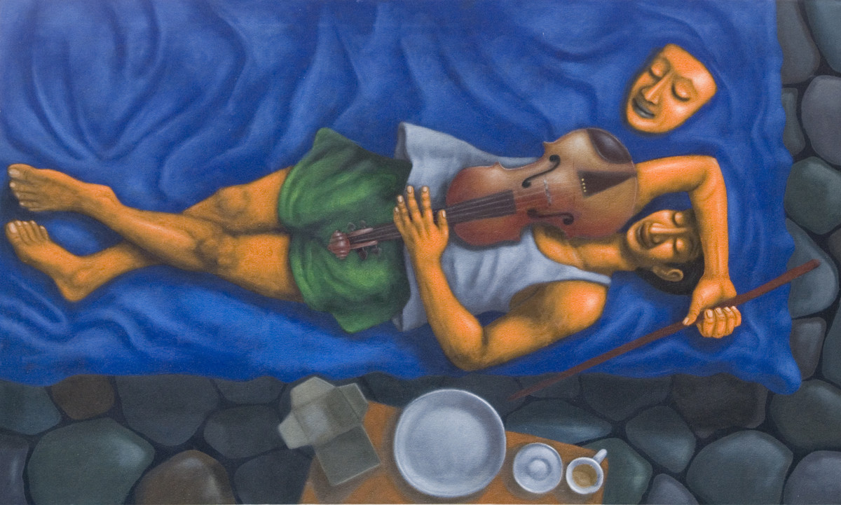 Violin Player by Swaroop Biswas, Decorative Painting, Oil & Acrylic on Canvas, Blue color