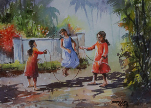 Childhood Days by Mopasang Valath, Impressionism Painting, Watercolor on Paper, Brown color