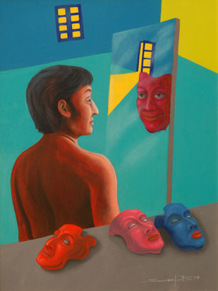Reflection by Swaroop Biswas, Pop Art Painting, Oil & Acrylic on Canvas, Brown color