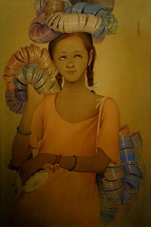 Bangle Hawker III by Rajib Gain, Realism Painting, Watercolor Wash on Paper, Brown color