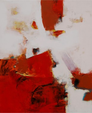 Untitled by Umesh Patil, Abstract Painting, Acrylic on Canvas, Red color