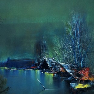 Serenity by Sanjeev K Das, Impressionism , Oil on Canvas, Green color