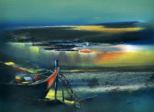 Untitled by Sanjeev K Das, Impressionism , Oil on Canvas, Green color