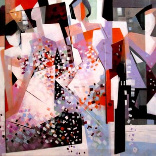 Bounded With Love by Ella Prakash, Cubism Painting, Acrylic on Canvas, Brown color