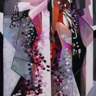 Rising by Ella Prakash, Cubism Painting, Acrylic on Canvas, Brown color