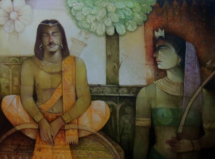 Arjuna & Chitrangada by Arun Kumar Samadder, Decorative , Oil on Canvas, Brown color