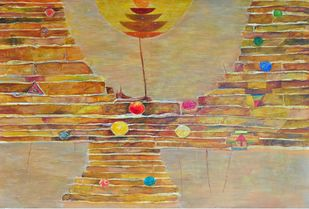 Good Morning Varanasi by S K Nag , Decorative Painting, Acrylic on Canvas, Beige color