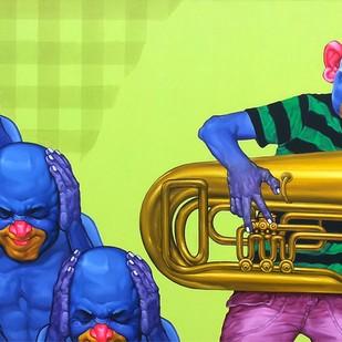 Fest by Rajendra Kapse, Pop Art Painting, Oil on Canvas, Blue color