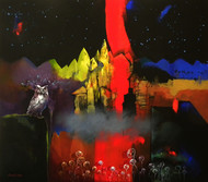 Night Watch by Pradip Sengupta, Conceptual Painting, Acrylic on Canvas, Brown color