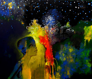 Wish Tree by Pradip Sengupta, Conceptual Painting, Acrylic on Canvas, Blue color