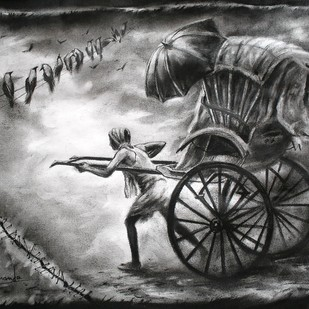 Memory by Ananda Das, Illustration Drawing, Charcoal on Paper, Gray color