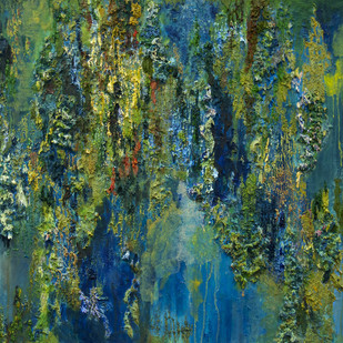 Deep in a Forest I Met Myself 2 by Nandita Mukand, Abstract Painting, Mixed Media on Canvas, Green color