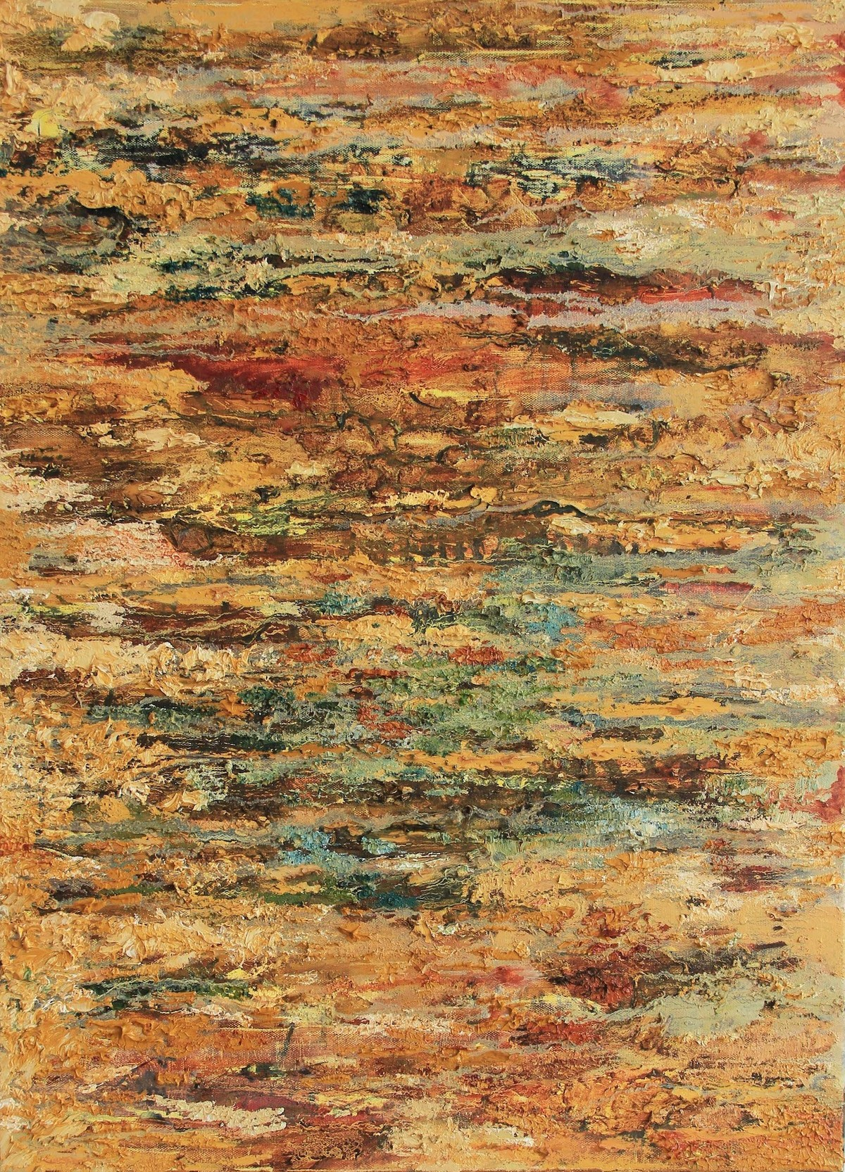 Unresting Unhasting 1 by Nandita Mukand, Abstract Painting, Oil & Acrylic on Canvas, Brown color