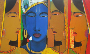Lord Krishna With Gopika by Ashok Rathod, Decorative Painting, Acrylic on Canvas, Brown color